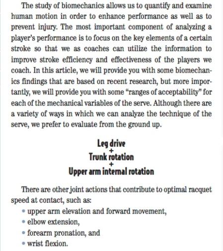 Squash Forehand Drive and Tennis Serve Biomechanical Principles the Same