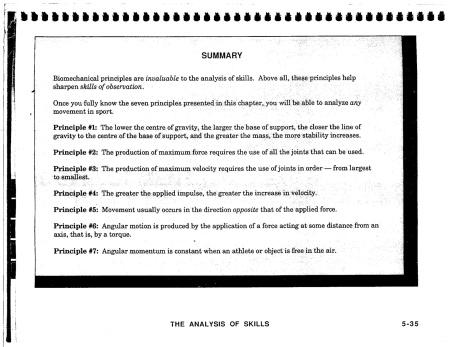 Seven General Biomechanical Principles for Sport