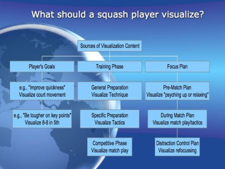 Sources of visualization content for squash players.