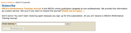 Subscribe to the NSCA Performance Training Journal