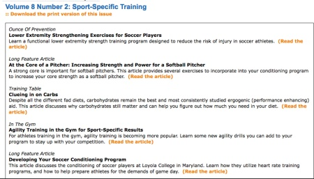 NSCA Performance Journal Contents