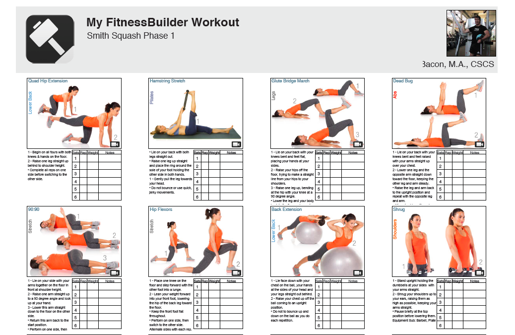 exercise schedule maker